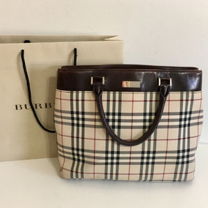 Authentic BURBERRY nova check tote w leather